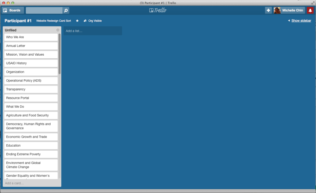 Trello board set up for a Modified-Delphi card sort with a list called Unfiled and all the cards under that list