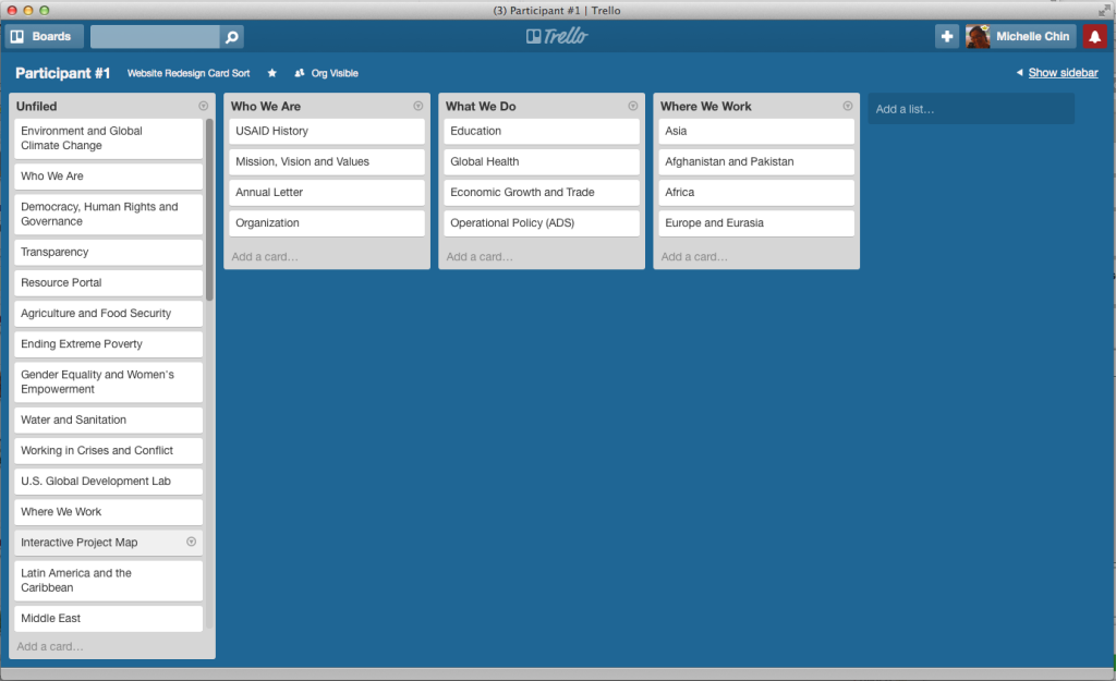 An in-progress card sort by the first participant in Trello